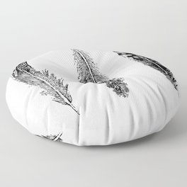 Feather Trio | Black and White Floor Pillow