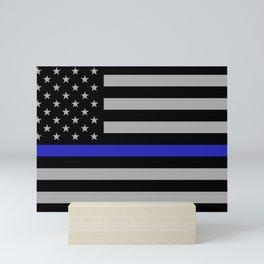 Blue Lives Matter Thin Blue Line Gray Full Print Mini Art Print