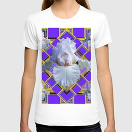 ART DECO WHITE IRIS PURPLE ART T-shirt