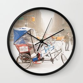 NYC Snow Day on Central Park West Wall Clock