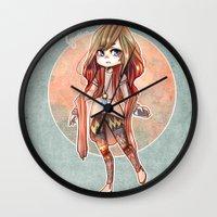 cyarin Wall Clocks featuring Forest Girl by Cyarin
