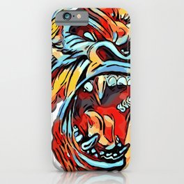 Funky Angry Gorilla in Primary Colors iPhone Case
