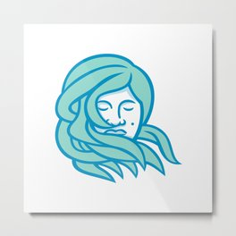 Polynesian Woman Flowing Hair Mascot Metal Print
