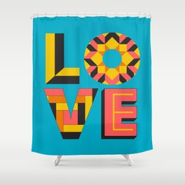LOVE - Turquoise Shower Curtain