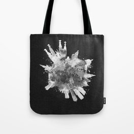 Barcelona, Spain Black and White Skyround / Skyline Watercolor Painting (Inverted Version) Tote Bag