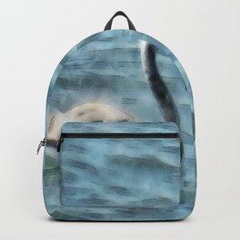 Fledgling Flamingo At Sea Watercolor Backpack
