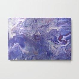 Fluid Art Acrylic Painting, Pour 4 - Purple, Blue & White Blended Color Metal Print