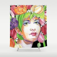 headdress Shower Curtains featuring Tulip Headdress by Thea Maia