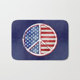 Watercolor Patriot Peace Symbol Stars and Stripes USA Flag Bath Mat