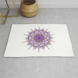 hand drawn original mandala art with violet and orange color scheme Rug