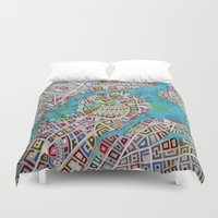 boston map Duvet Covers featuring imaginary map of boston  by Federico Cortese