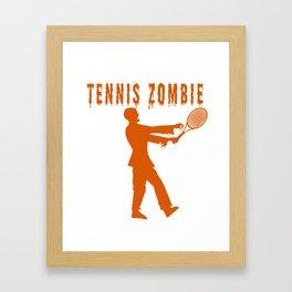 Funny Halloween Tennis Zombie Framed Art Print