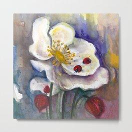 Lady Birds, Strawberry Flowers Metal Print