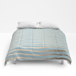 Abstract Stripes Gold Tropical Ocean Sea Blue Comforters