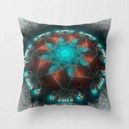 Orange Aqua Grunge Pattern Throw Pillow