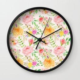 Watercolor Peach Rose Pattern Wall Clock