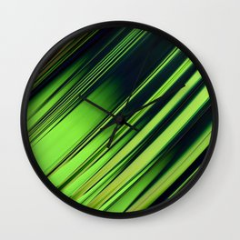 Diagonal Stripes of Green and Black Wall Clock