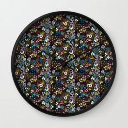Flower Meadow Black Large Scale Wall Clock