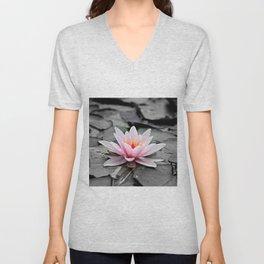 Pink Lotus Flower Waterlily Unisex V-Neck