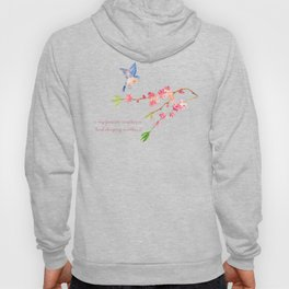 My favorite weather - Romantic Birds Cherryblossoms and Spring Typography on aqua Hoody