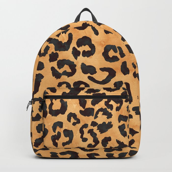 Modern trendy brown beige watercolor hand painted leopard pattern Backpack 7fd314d842d9b