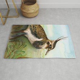 Lapwing Bird Watercolor Painting Hand-painted Artwork Rug