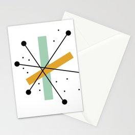 Retro Minimalist Mid Century Modern Pattern Design Stationery Cards