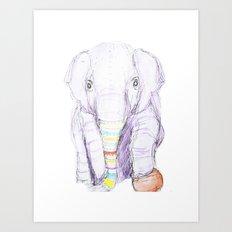 Striped Elephant Illustration Art Print
