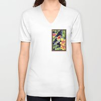kindle V-neck T-shirts featuring Tiki Talk by Vikki Salmela