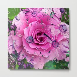 504 - Abstract Flower Design Metal Print