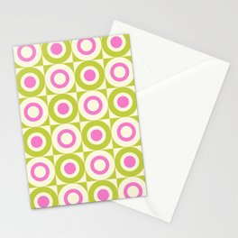 Mid Century Square and Circle Pattern 541 Pink and Chartreuse Stationery Cards