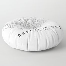 BRECKENRIDGE // Colorado Trail Map Black and White Lines Minimalist Ski & Snowboard Illustration Floor Pillow
