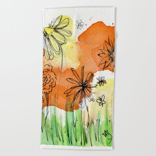 Flower Doodle 2 Beach Towel