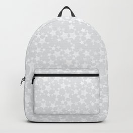 Block Printed White Stars Pattern on Pale Gray Backpack