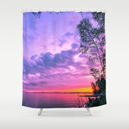 Day fading into the lake Shower Curtain