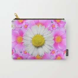 Pink Roses Blue Color Shasta Daisies Pattern Garden Carry-All Pouch