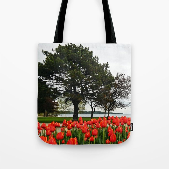 Tulips and the Trees by the Lake Tote Bag