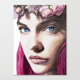 Barbara Palvin Watercolor with Pink Hair Canvas Print