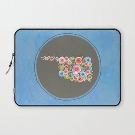 Oklahoma Watercolor Flowers on Blue Laptop Sleeve