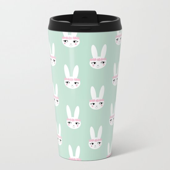Bunny Rabbit mint spring cute character illustration nursery kids minimal floral crown Metal Travel Mug