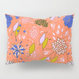 Orange Flower Pattern Pillow Sham