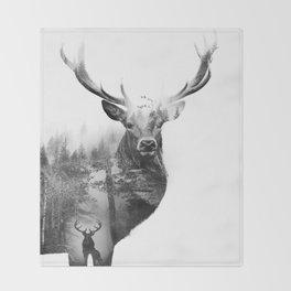 Deer in the woods Throw Blanket