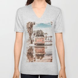Urban Retro Camper Van With Surfboards Unisex V-Neck