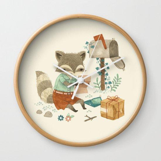 Raccoon Post Wall Clock