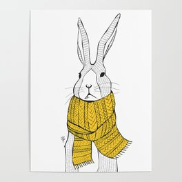 Rabbit in a yellow scarf Poster