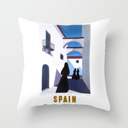 1950 Spain Guy Georget Travel Poster Throw Pillow