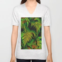 Camouflage Hidden Buddha in Ferns Unisex V-Neck