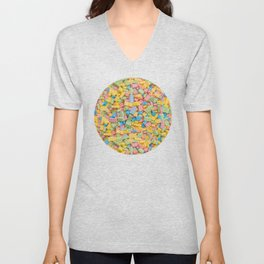 Candy Building Blocks, Multicolored Pastel Pattern Unisex V-Neck