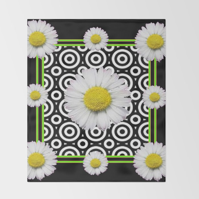 Modern Deco Style Shasta Daisies Black Art Throw Blanket