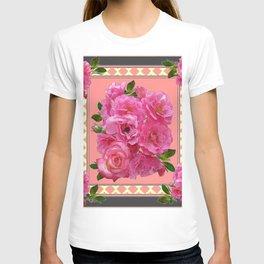 VINTAGE STYLE PINK ROSES PATTERN GREY ART T-shirt